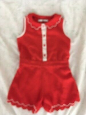 Lovely Stylish Red M&S Playsuit With Pretty Scalloped Edge Age 2-3