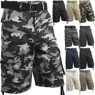 Mens Cargo Shorts with Belt 30 52 Twill Short Camo Pants Summer Multi Pocket
