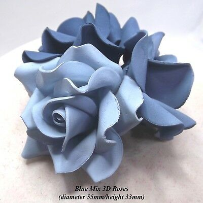 3,6 or12 Large Blue Ombre Mix 3D Sugar Roses blue cake decorations 55mmNONWIRED
