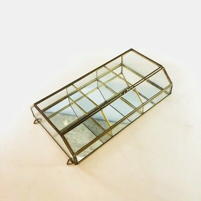 Vintage Mirrored Glass and Brass Framed Jewelry Retail Display Case