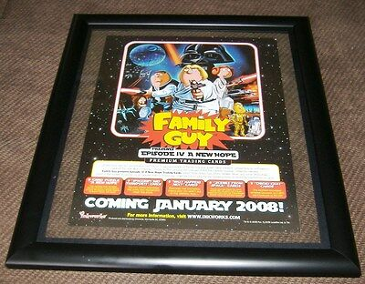 "Family Guy: Mini Poster -Sell Sheet A new Hope /Double Sided 8-1/2"" X 11"" Framed"