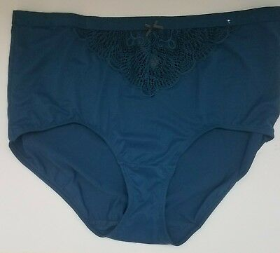 c9f412f9fd3e Cacique Charmer Full Brief Panty with Lace Panel 18/20 peacock Blue Glitter  Bow