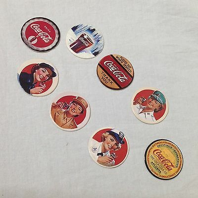 Coca-Cola Collect A Card Coke Cap Series Two Complete Set 8 Pogs Trading Discs