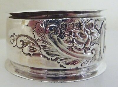 Sterling Silver Napkin Ring Art Nouveau Roses Leaves English Hallmark 1906