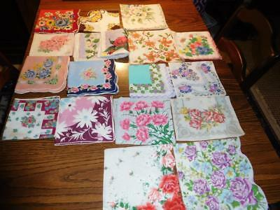 "17 Vintage Ladies Floral Hankies Some Stickers  10 1/2""-15"""