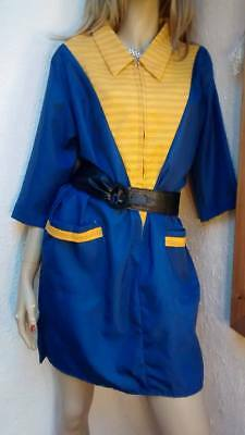 1960s NYLON HOUSECOAT OVERALLS VTG RETRO NOISY RUSTLY STIFF NYLON HOUSEWIFE 45""