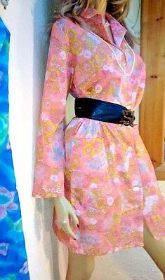 Floral Vtg Rustly 'paper' Nylon House Coat Pinnafore Overall British Empire Made