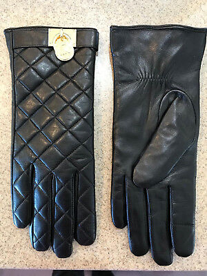 Michael Kors Womens Padlock Quilted Leather Tech Gloves Small Black Gold NWOT