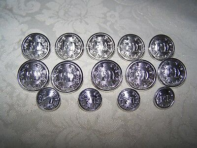 14 Gaunt London Fire Department F.d. Uniform Silver Tone Buttons - Excellent