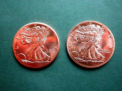 """(2) Walking Liberty American Eagle 1oz Copper Round ---  """"2 COINS"""""""