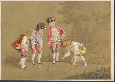 Freedom Range Stoves Peckham Utica NY Victorian Trade Card Boy's Playing Marbles