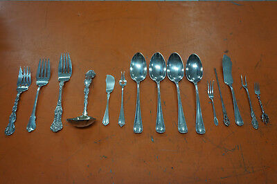 Lot Of 15 Antique Sterling Silver Silverware Pieces