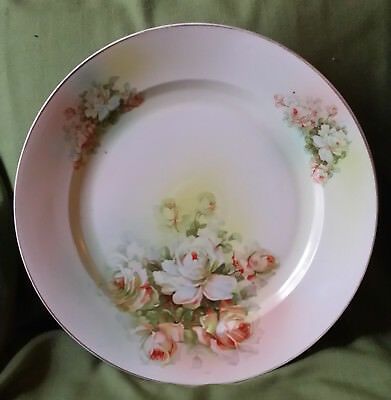 """12.75"""" Round HP Platter/Charger/Chop Plate~White/Pink Roses~Czechoslovakia OOAK"""