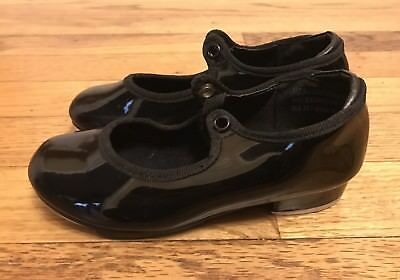 Girl's Star Tone Black Patent Leather Tap Dance Shoes Girls Size 9 W - Kids