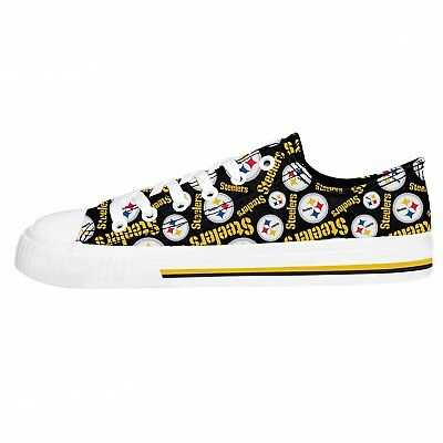 Pittsburgh Steelers NFL Womens Low Top Repeat Print Canvas Shoes