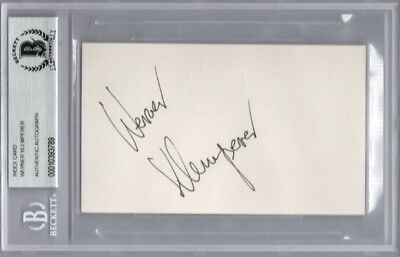 WERNER KLEMPERER SIGNED 3x5 INDEX CARD COLONEL KLINK HOGAN'S HEROES BECKETT BAS