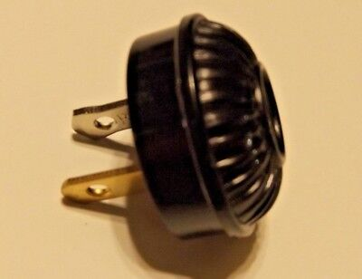 Black Ribbed Early Electric Polarized Plug For Antique Lamps New 48542Jb
