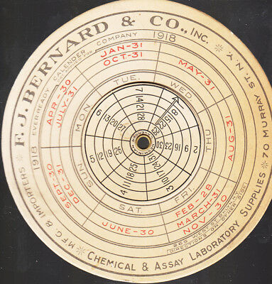 F.J.Bernard Co.Chemical & Assay Laboratory NYC 1918 Advertising Calender Disc