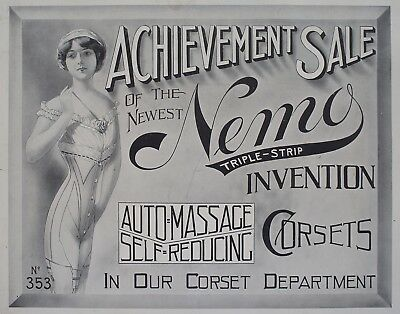 Original Edwardian Era Corset Advertisement Signage Circa 1905 Vintage Clothing