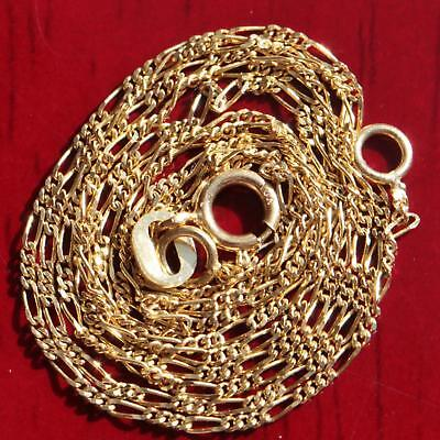 """10k yellow gold necklace 20.0"""" solid figaro link chain vintage 1.0gr very strong"""