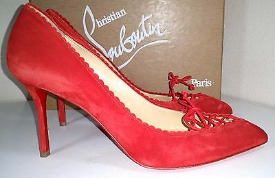 e47cd861784b Christian Louboutin Scalopump Red Suede Red Sole Pump Pointy Toe Shoes 37.5