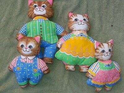 Vtg Kitty  family  Cat Shaped Handmade Accent Pillow Dolls CUT AND SEW