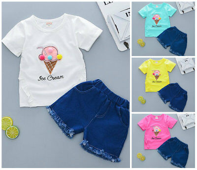 1 set baby toddler Girls clothes summer Tee +short pants kids outfits ice cream