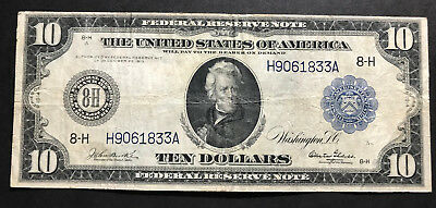 $10 1914 Federal Reserve Note St. Louis w/ Burke Glass Problem Free Example