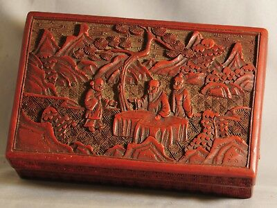 Amazing Authentic Antique Chinese Qing Carved Cinnabar Lacquer Box