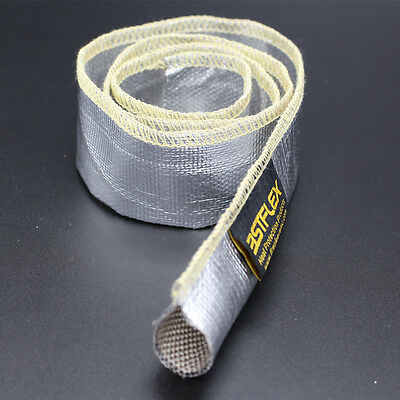 """Metallic Heat Shield Sleeve Insulated Wire Hose Cover Wrap Loom Tube 1/2"""" 3 Ft"""