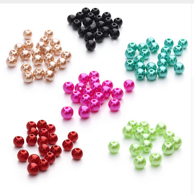 100pcs 6mm ABS Imitation Pearl Beads Round Plastic Acrylic Spacer Beads DIY