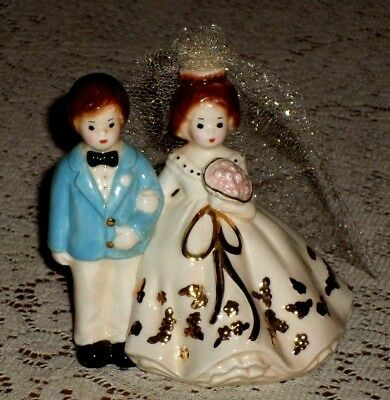 Vintage Josef Originals BRIDE & GROOM Figurine~Wedding Cake Topper~Dakin 2000