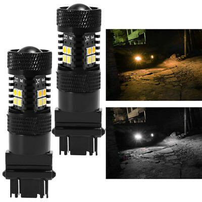 High Power 3157 LED Super White Switchback 3030 SMD Turn Signal Lights Yellow 2x