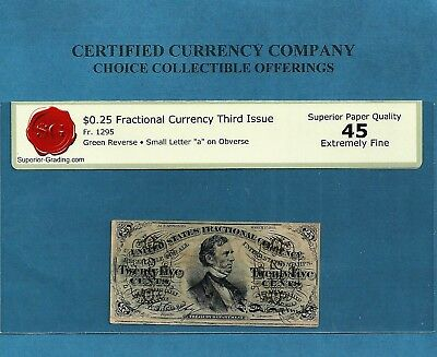 FR 1295-25 Cents Fesseden Green Back Fractional Note graded Extremely Fine 45