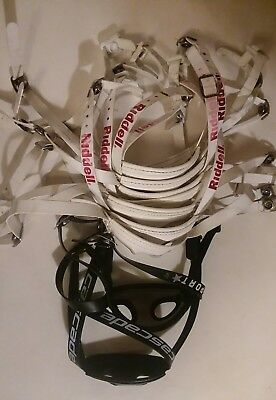 Lot of 9 USED CHIN STRAPS 7 WHITE RIDDELL SOFT  CUP, ADULT HELMET  2 BLACK MISC