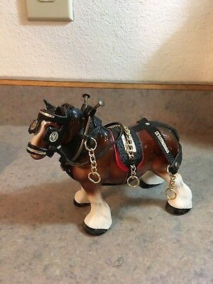 Vintage Melba Ware England Ceramic Clydesdale Horse Figurine Leather Sadle Metal