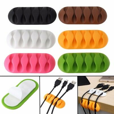 Desk Cable Clip Tidy Organiser Wire Cord Lead USB Charger Holder Fixer 6 Colors