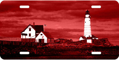 Airbrushed Boston lighthouse Red car tag novelty license plate #1