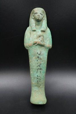 Fine Ancient Egyptian Faience Ushabti (Shabti) Statue Figure, 300-600 BC