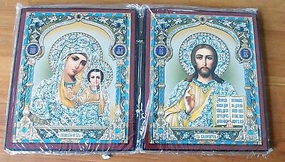 Madonna and Child Russian Diptych Icon Virgin of Kazan and Christ the Pantocrat