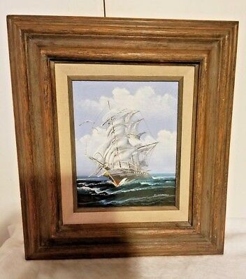 Vintage Clipper Ship In Ocean Framed Oil On Canvas Painting Signed R.Carrras