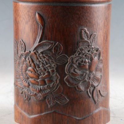 Exquisite Bamboo Wood Hand Carved The Flowers Brush Pot  AA
