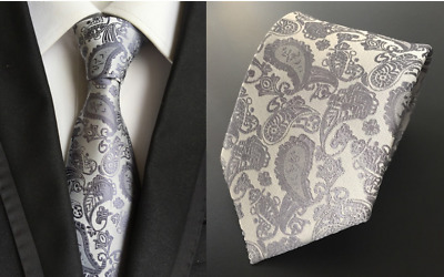Tie Black Silk Mens Paisley Woven Classic 2018 Wedding Necktie JACQUARD New 3#06