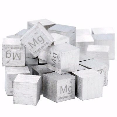 High Purity 99.99% Pure Magnesium Mg 10 mm Carved Element Periodic Table Cube