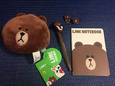 LINE Friends App - Brown Lot - Badge Pins, Pen, Notebook, and Plush