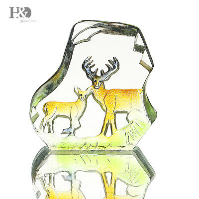 New Crystal Engraving Paperweight Deer Figurines Collectibles Wedding Home Decor
