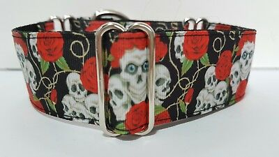 Greyhound / whippet / lurcher/ saluki  Martingale Dog Collar  skulls and roses