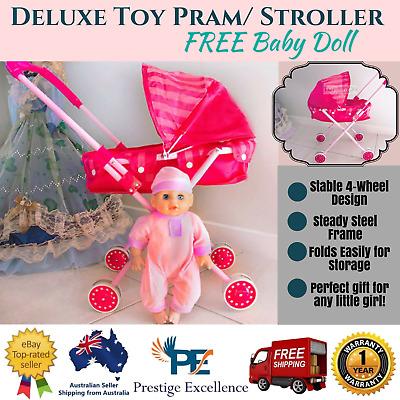 Deluxe Lightweight Toy Pram/ Stroller with FREE Baby Doll Gifts for Kids Compact