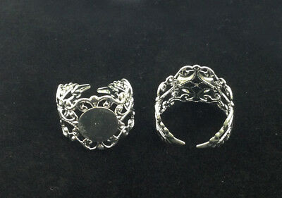20PCS/40Pcs Silver Plated Adjustable Filigree Ring Blanks18mm For Jewelry Making