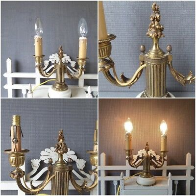 French Louis XVI Style Marble and Bronze Two arms Candelabra